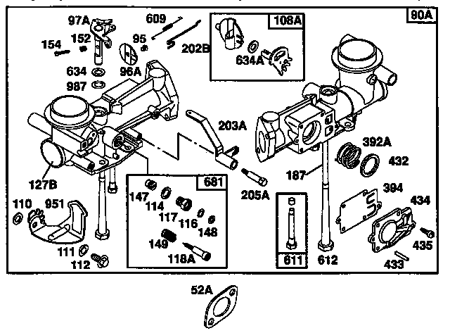 EXPLODED VIEW-CARBURETOR ASSEMBLY Diagram & Parts List for