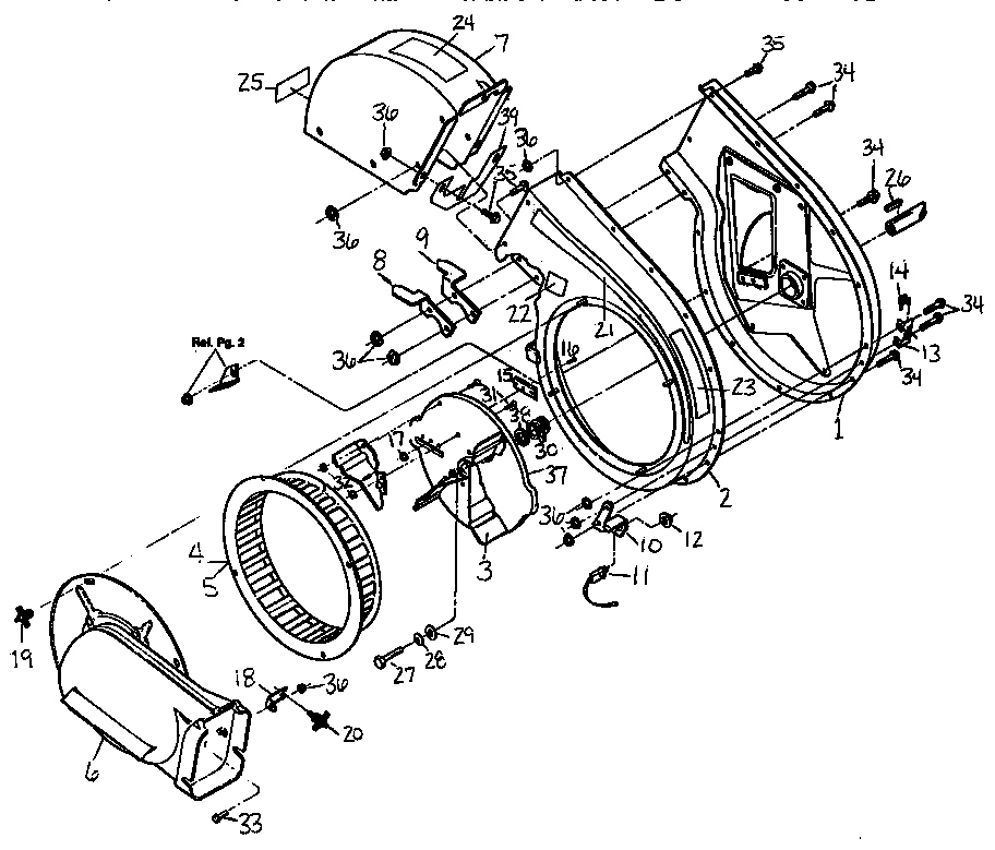 SHREDDER ASSEMBLY Diagram & Parts List for Model 47282