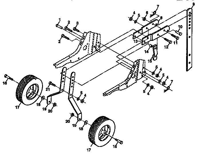 WHEEL AND DEPTH STAKE ASSEMBLY Diagram & Parts List for