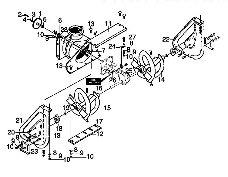 AUGER HOUSING Diagram & Parts List for Model 536886360