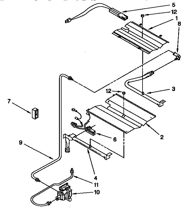 BROILER AND OVEN BURNER Diagram & Parts List for Model