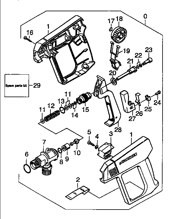 TRIGGER GUN Diagram & Parts List for Model hd1050bx