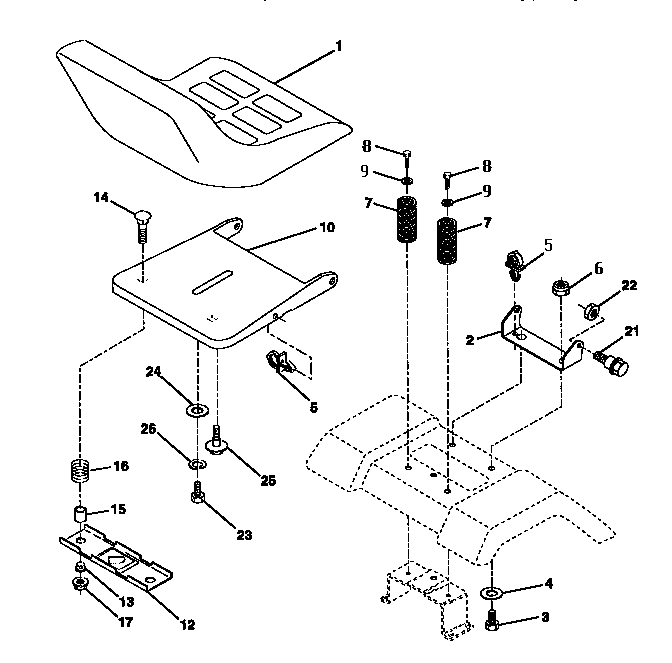 SEAT ASSEMBLY Diagram & Parts List for Model 917252510