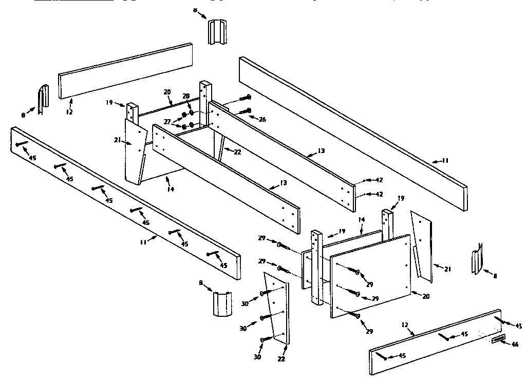 LEG AND FRAME ASSEMBLY Diagram & Parts List for Model