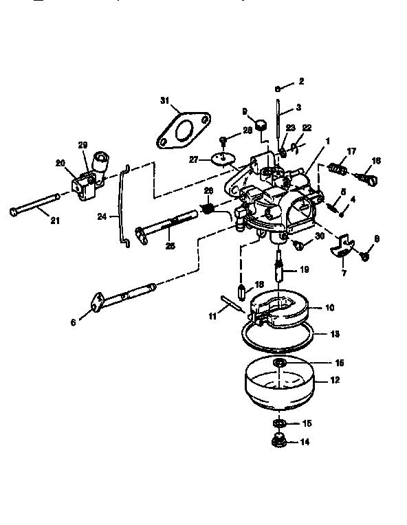 CARBURETOR Diagram & Parts List for Model 225587506