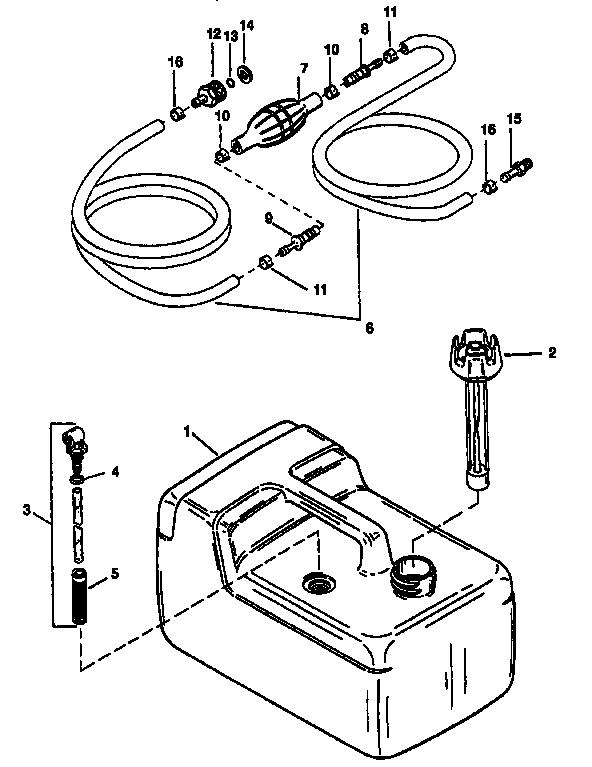 FUEL TANK LINE (PLASTIC-3.2 GAL) Diagram & Parts List for