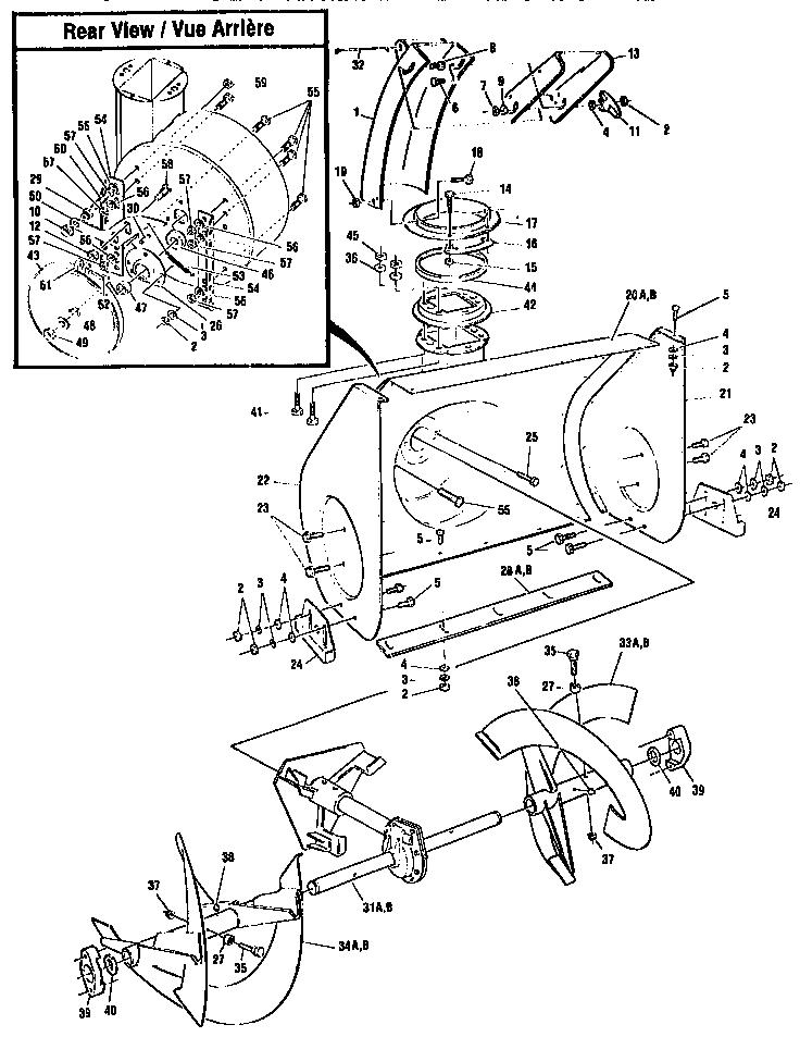 AUGER HOUSING ASSEMBLY Diagram & Parts List for Model