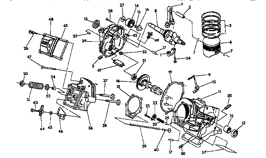 CRANKCASE ASSEMBLY Diagram & Parts List for Model