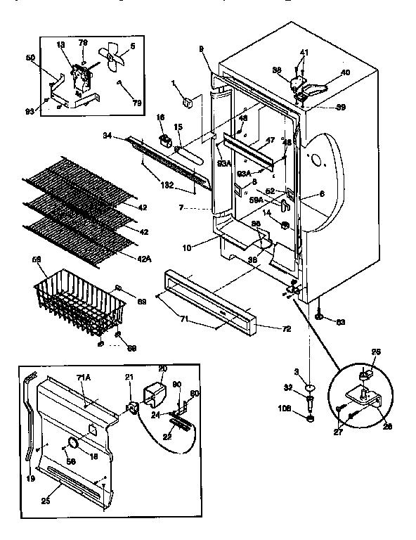 CABINET Diagram & Parts List for Model 2539264211 Kenmore