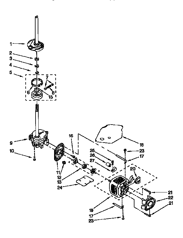 GEARCASE, MOTOR AND PUMP Diagram & Parts List for Model