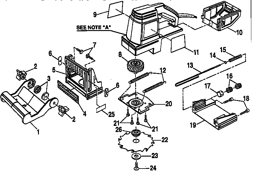 BLADE AND BASE ASSEMBLY Diagram & Parts List for Model