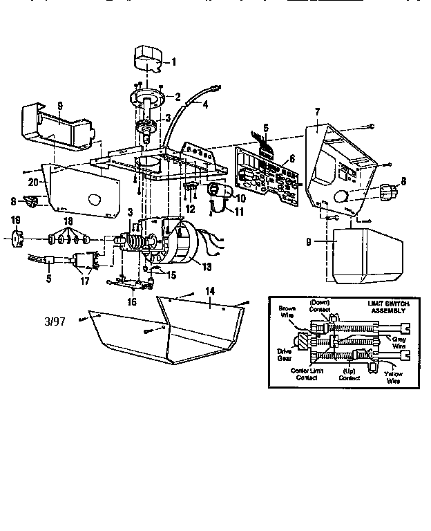 OPENER ASSEMBLY Diagram & Parts List for Model 13953675SRT
