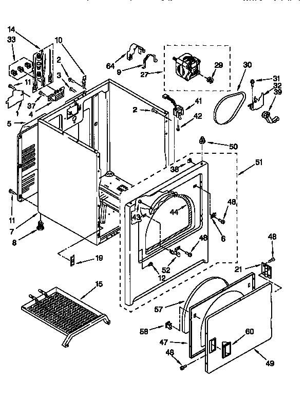 KENMORE Super Capacity Plus Clothes Dryer Cabinet Parts