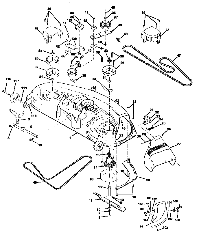 MOWER DECK Diagram & Parts List for Model 917258871