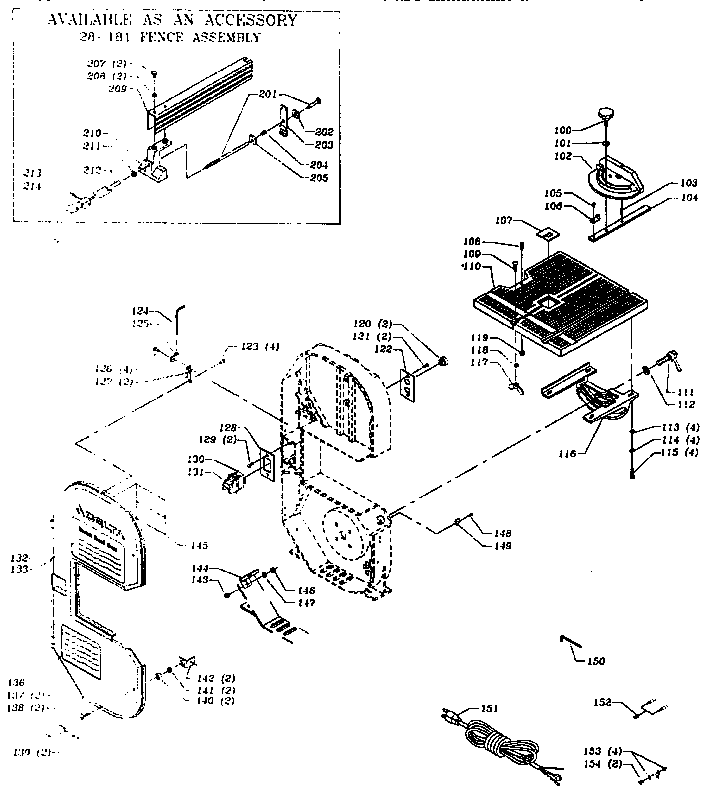 MITER GAUGE AND RIP FENCE ASSEMBLY Diagram & Parts List