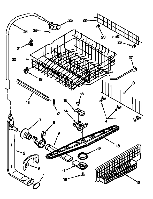 DISHRACKS AND SPRAY ARM ASSEMBLY Diagram & Parts List for