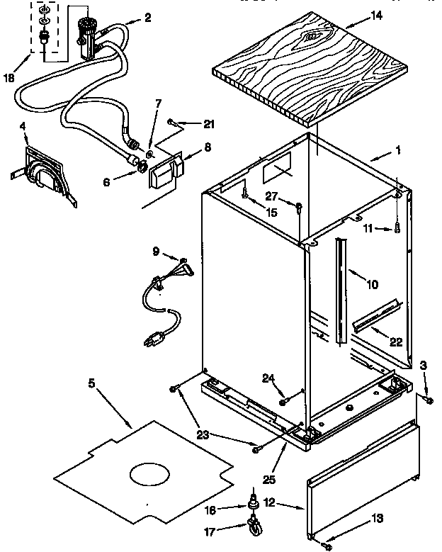 CABINET Diagram & Parts List for Model 66517731791 Kenmore