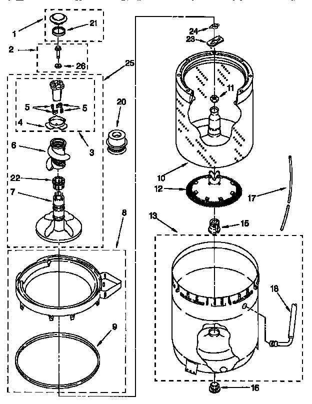 AGITATOR, BASKET, AND TUB Diagram & Parts List for Model