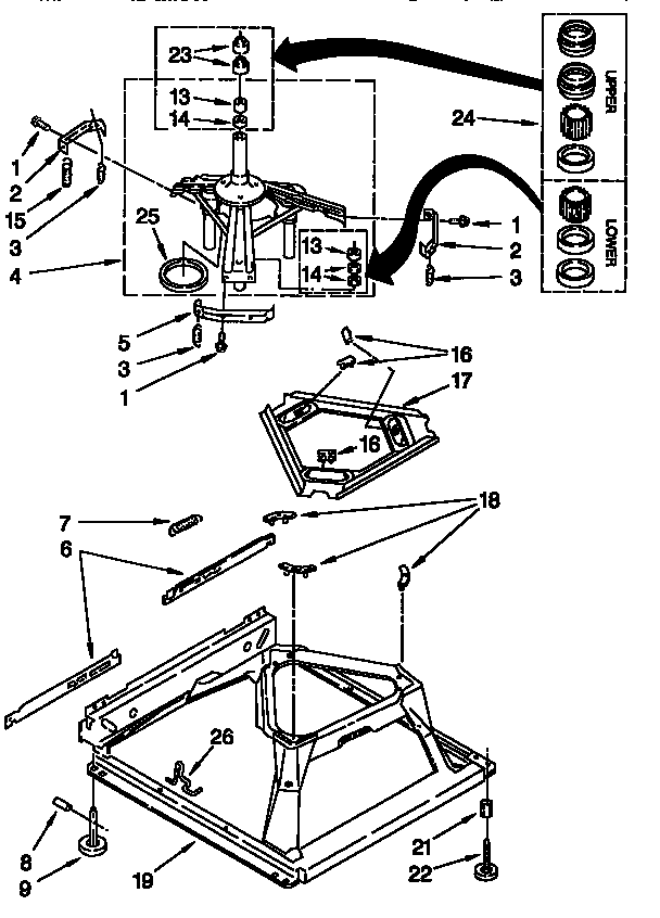 MACHINE BASE Diagram & Parts List for Model 11026832692