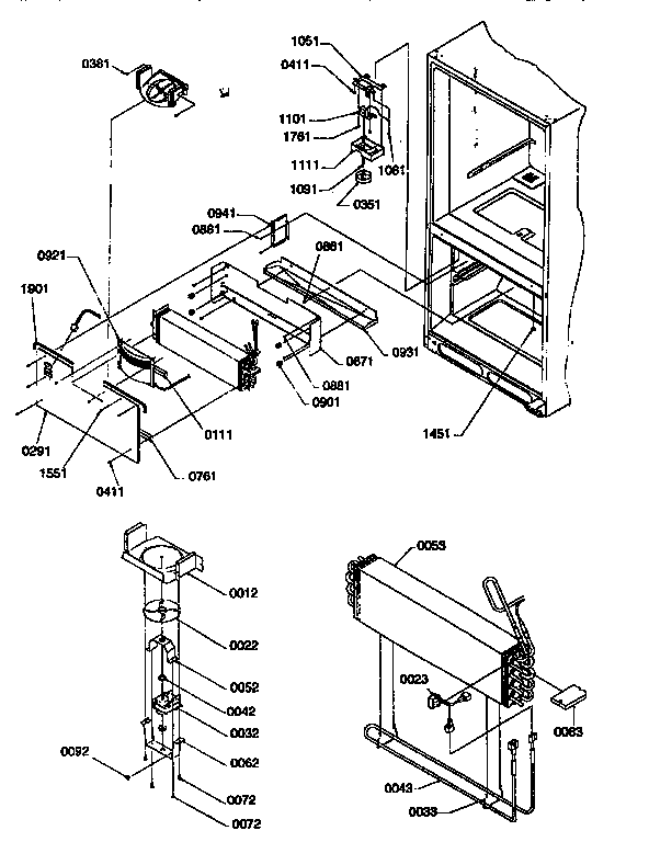 EVAPORATOR AND FREEZER CONTROL ASSEMBLY Diagram & Parts