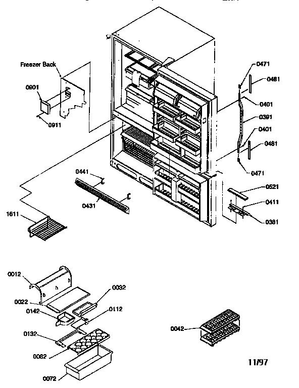 KENMORE 22' Bottom-Mount Refrigerator Controls and light