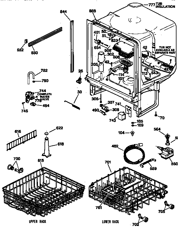 BODY PARTS Diagram & Parts List for Model gsd4030z00ww GE