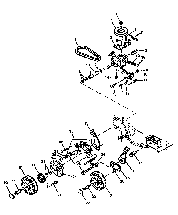WHEELS & TRANSAXLE MTG HDW (14SS) Diagram & Parts List for
