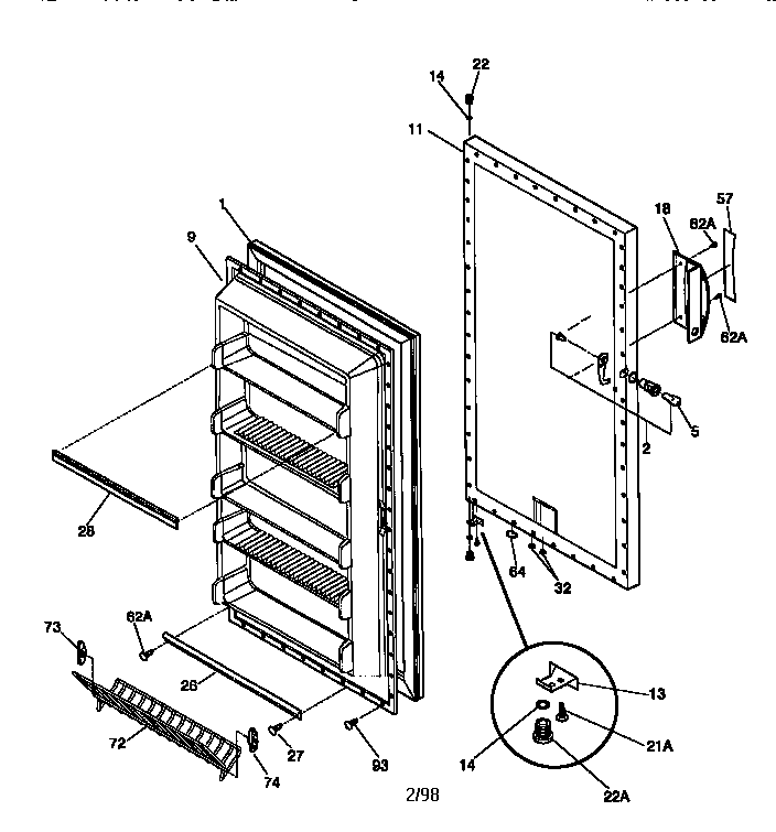 SOLVED: Kenmore Upright Freezer: 253.9284110 Door stopped