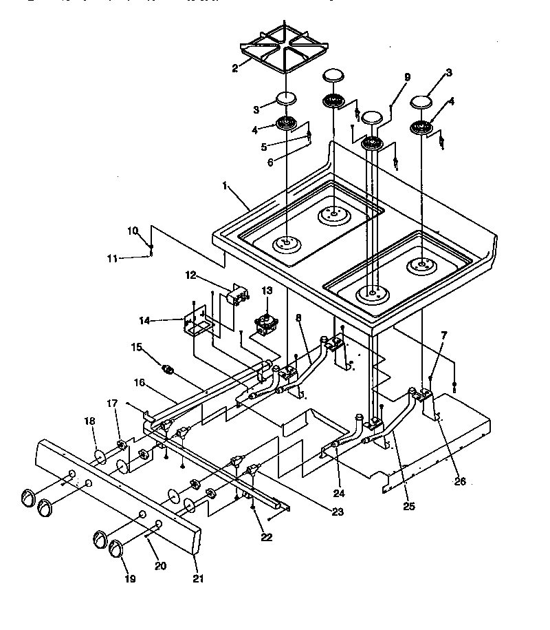 MAIN TOP Diagram & Parts List for Model arg7200wp1143329nw