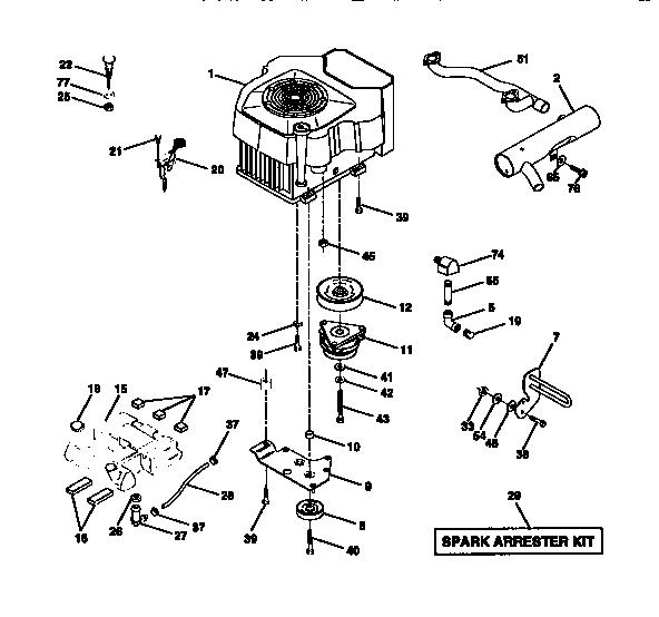 ENGINE Diagram & Parts List for Model 917273020 Craftsman