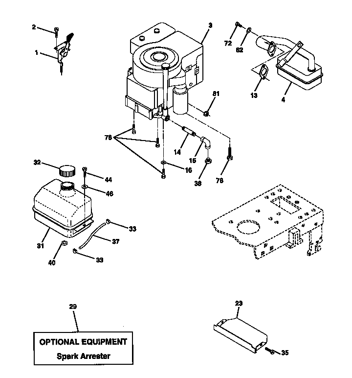 ENGINE Diagram & Parts List for Model 917270720 Craftsman