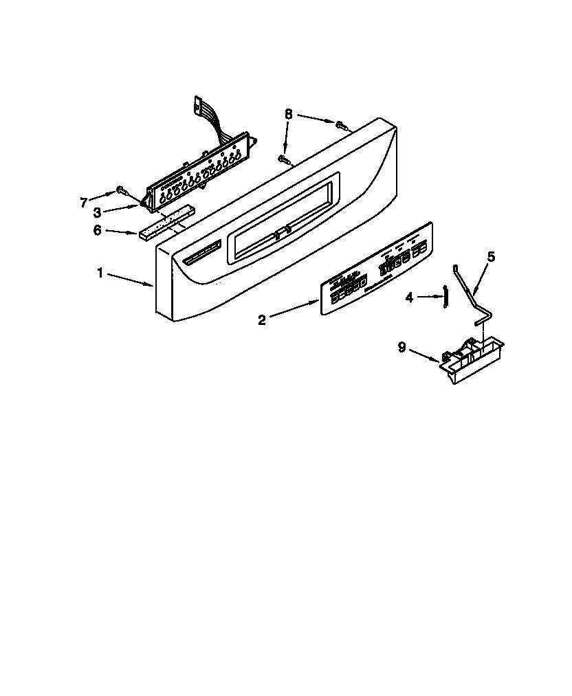 CONTROL PANEL Diagram & Parts List for Model KUDS24SEBL3
