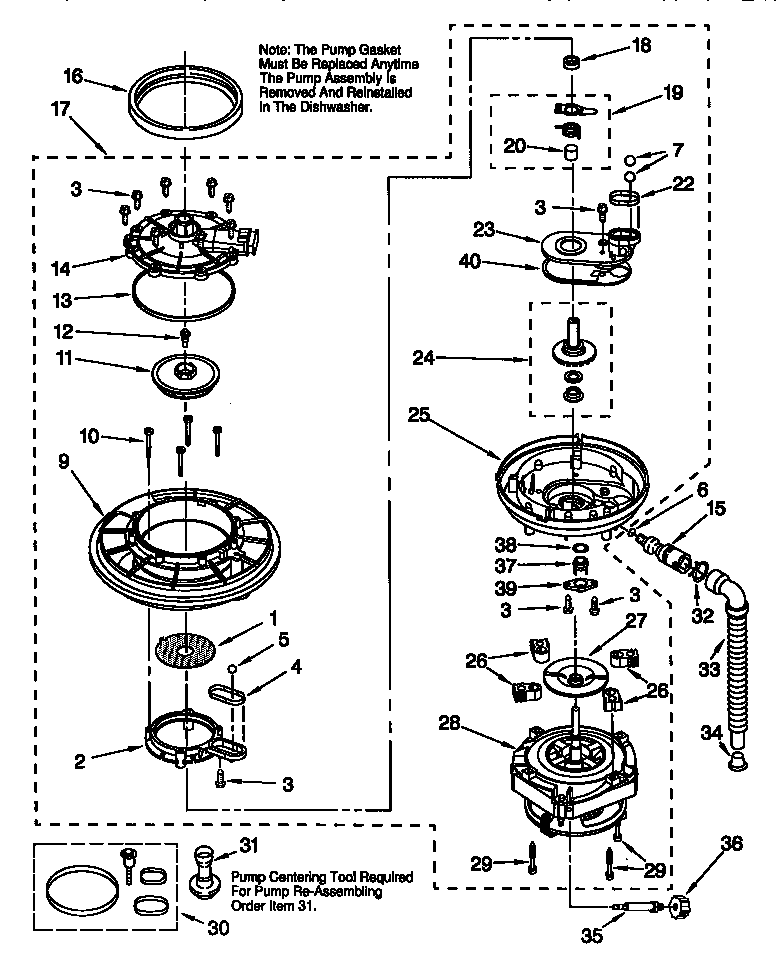 PUMP AND MOTORS Diagram & Parts List for Model kudi24sebl3