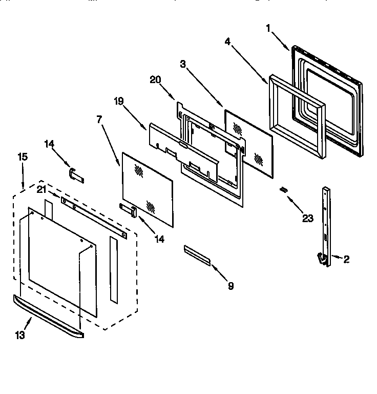 OVEN DOOR Diagram & Parts List for Model rbs305pdq6