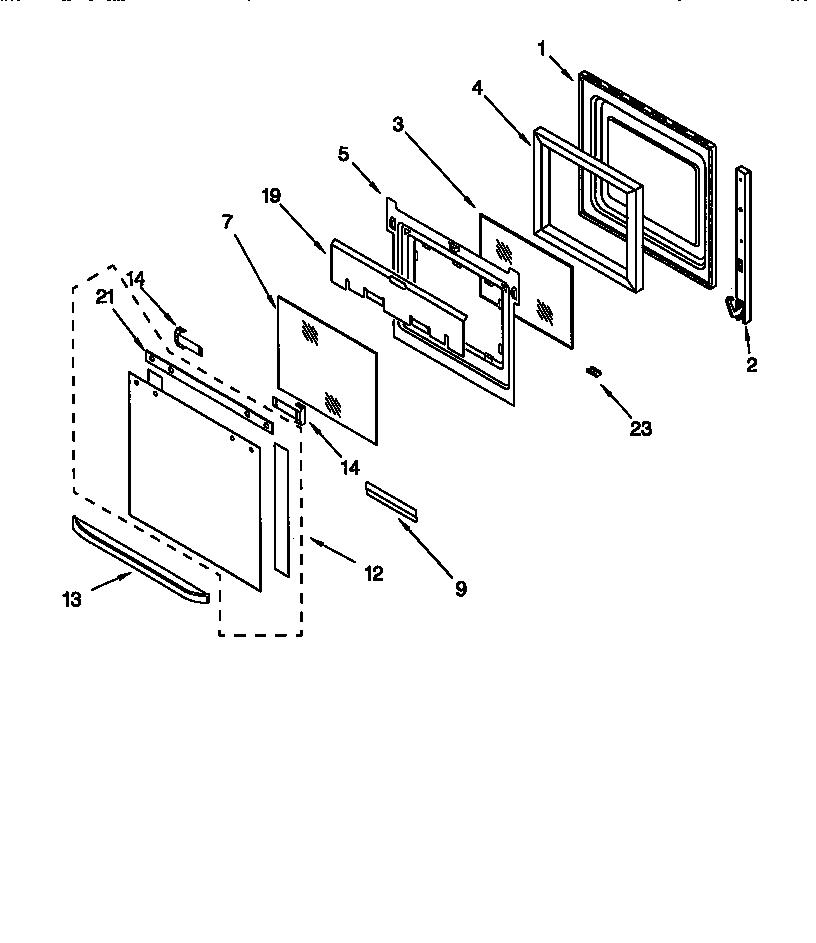 OVEN DOOR Diagram & Parts List for Model kebi206dbl6