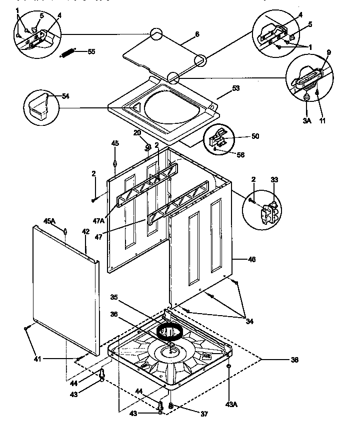 TOP AND CABINET Diagram & Parts List for Model 41798702890
