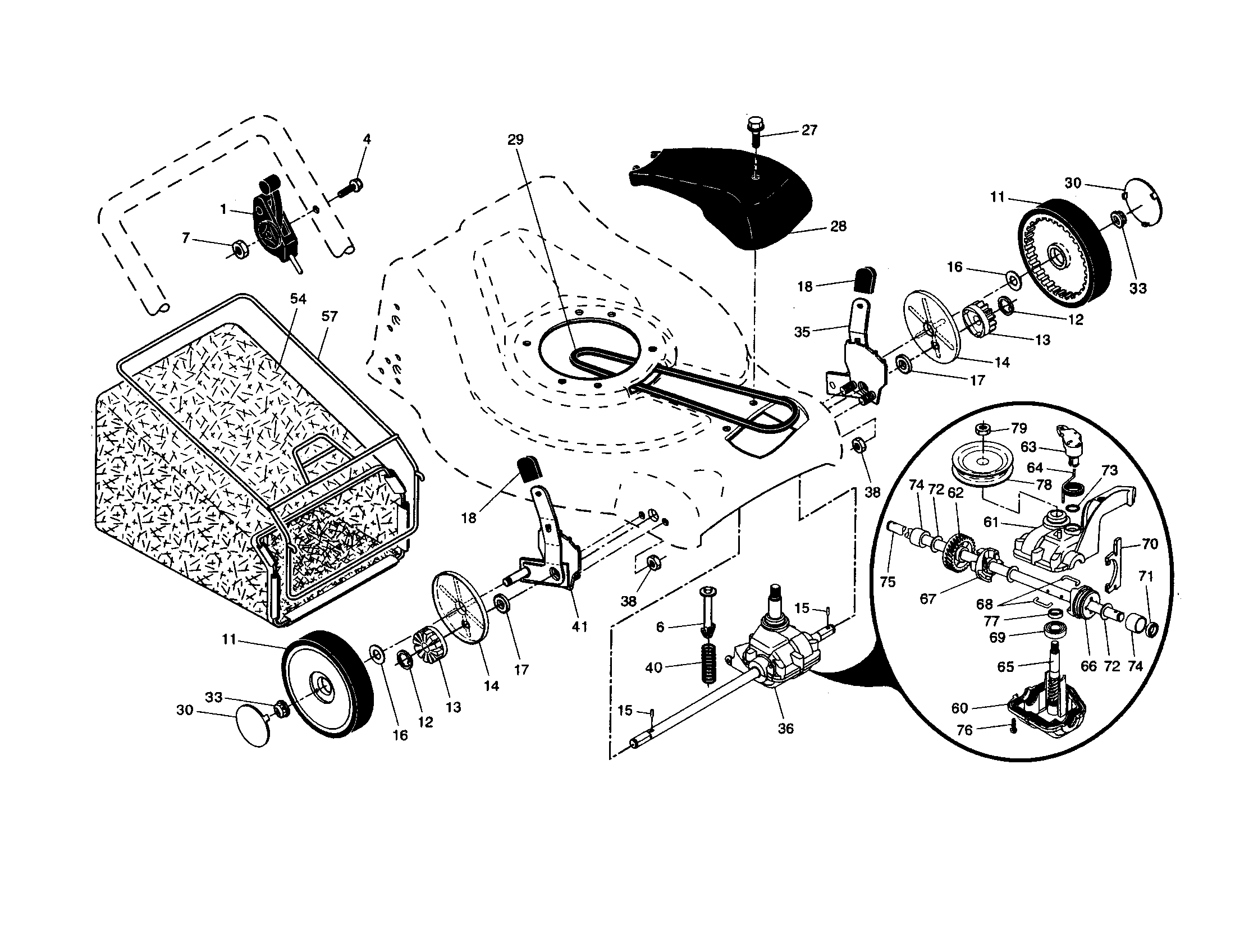 DRIVE CONTROL/GEAR CASE/WHEELS Diagram & Parts List for