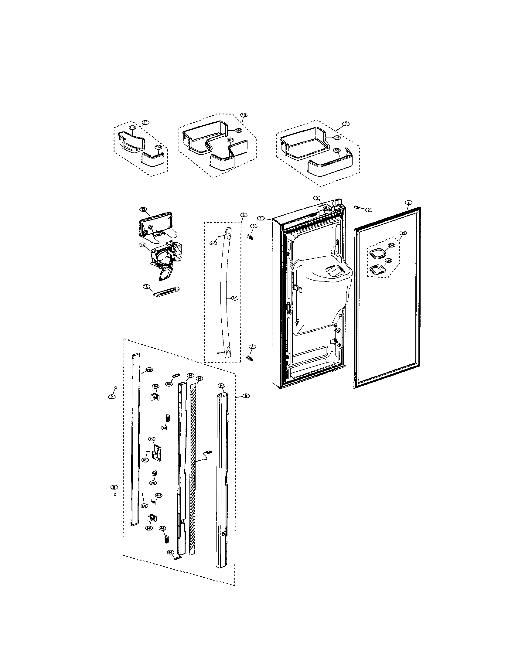 REFRIGERATOR LEFT DOOR Diagram & Parts List for Model