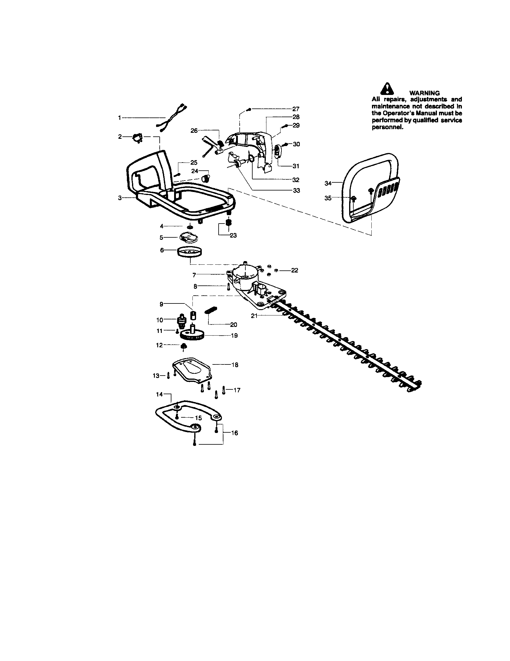 BLADE/HANDLE Diagram & Parts List for Model ght225letype5
