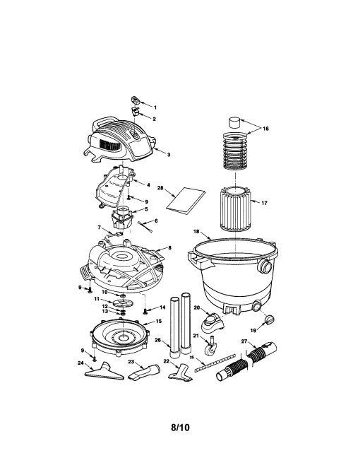 small resolution of  looking for craftsman model 113177650 wet dry vacuum repair on