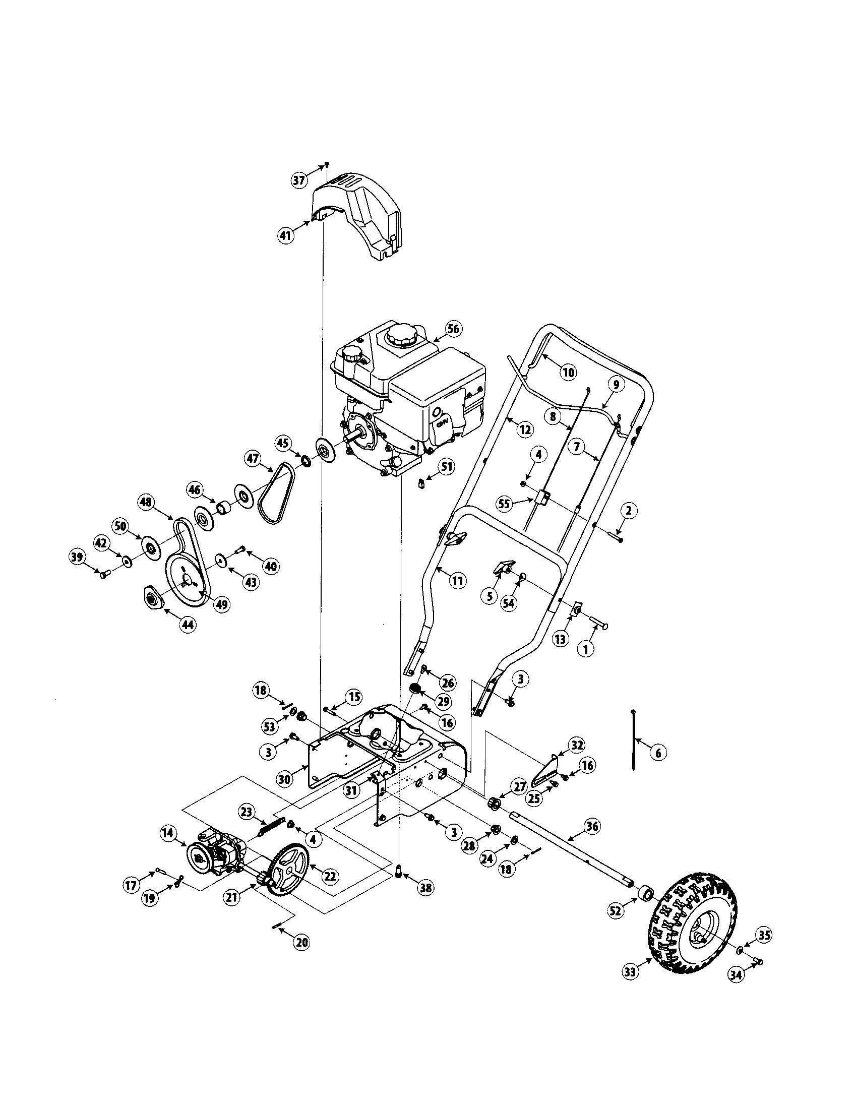 ENGINE/HANDLE/WHEELS Diagram & Parts List for Model