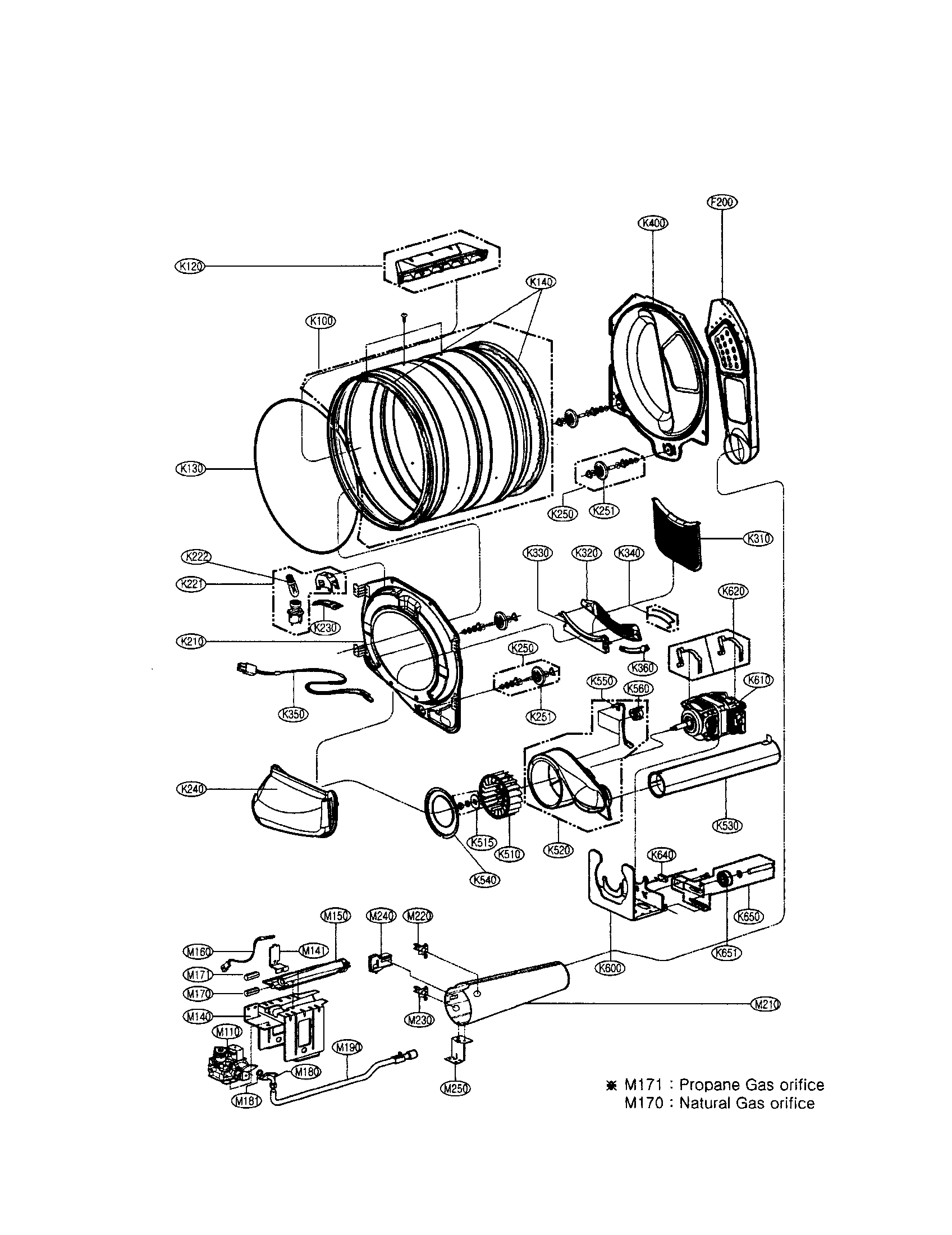 DRUM/MOTOR: GAS TYPE Diagram & Parts List for Model
