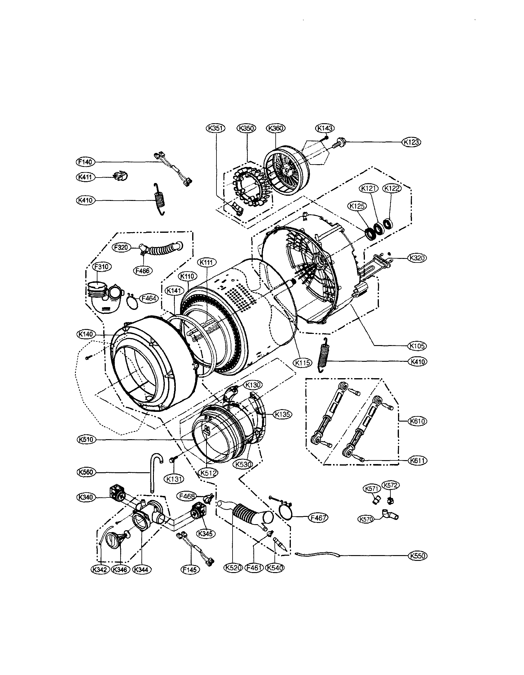 DRUM/TUB Diagram & Parts List for Model wm1355hr LG-Parts