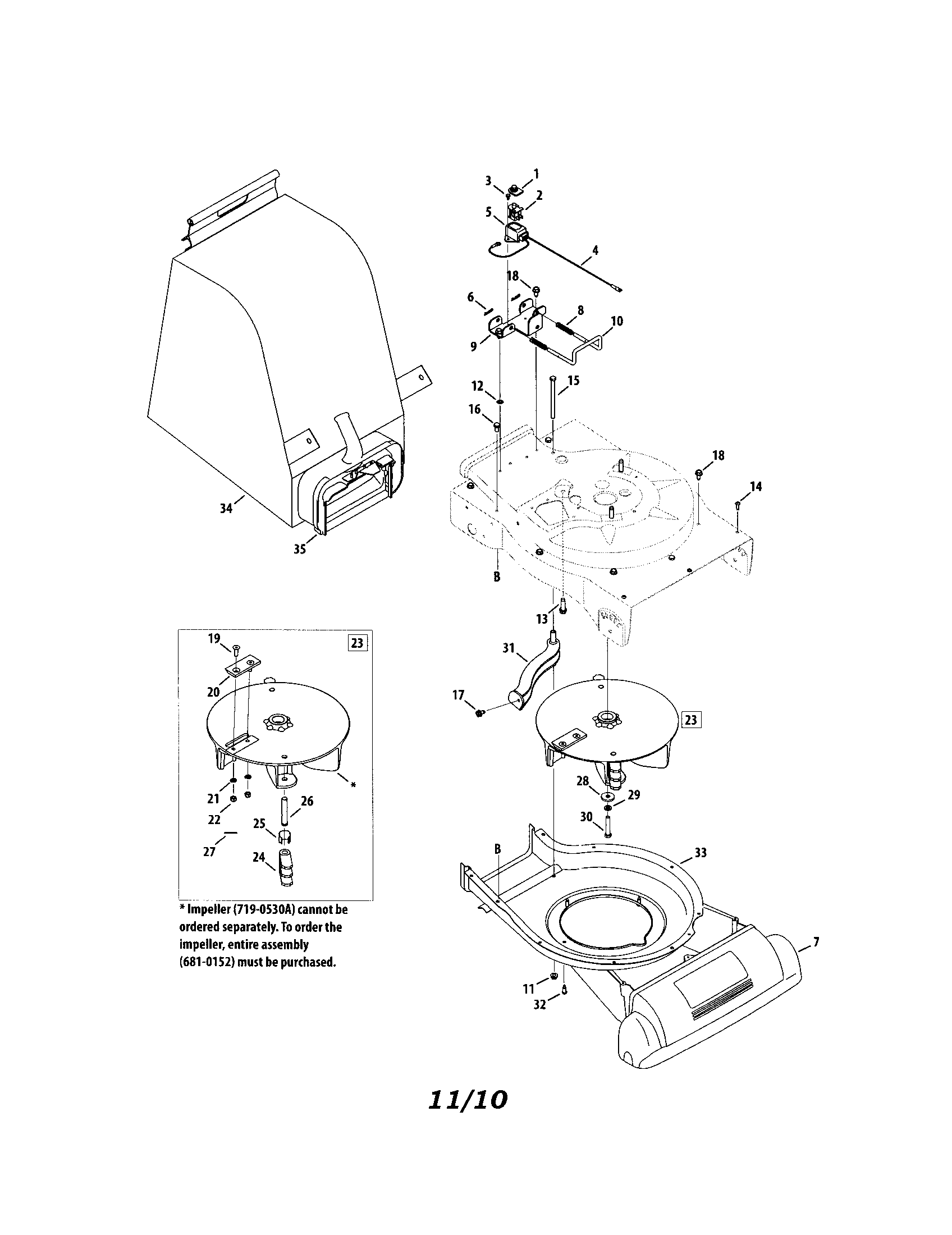 BAG/IMPELLER Diagram & Parts List for Model 24777243