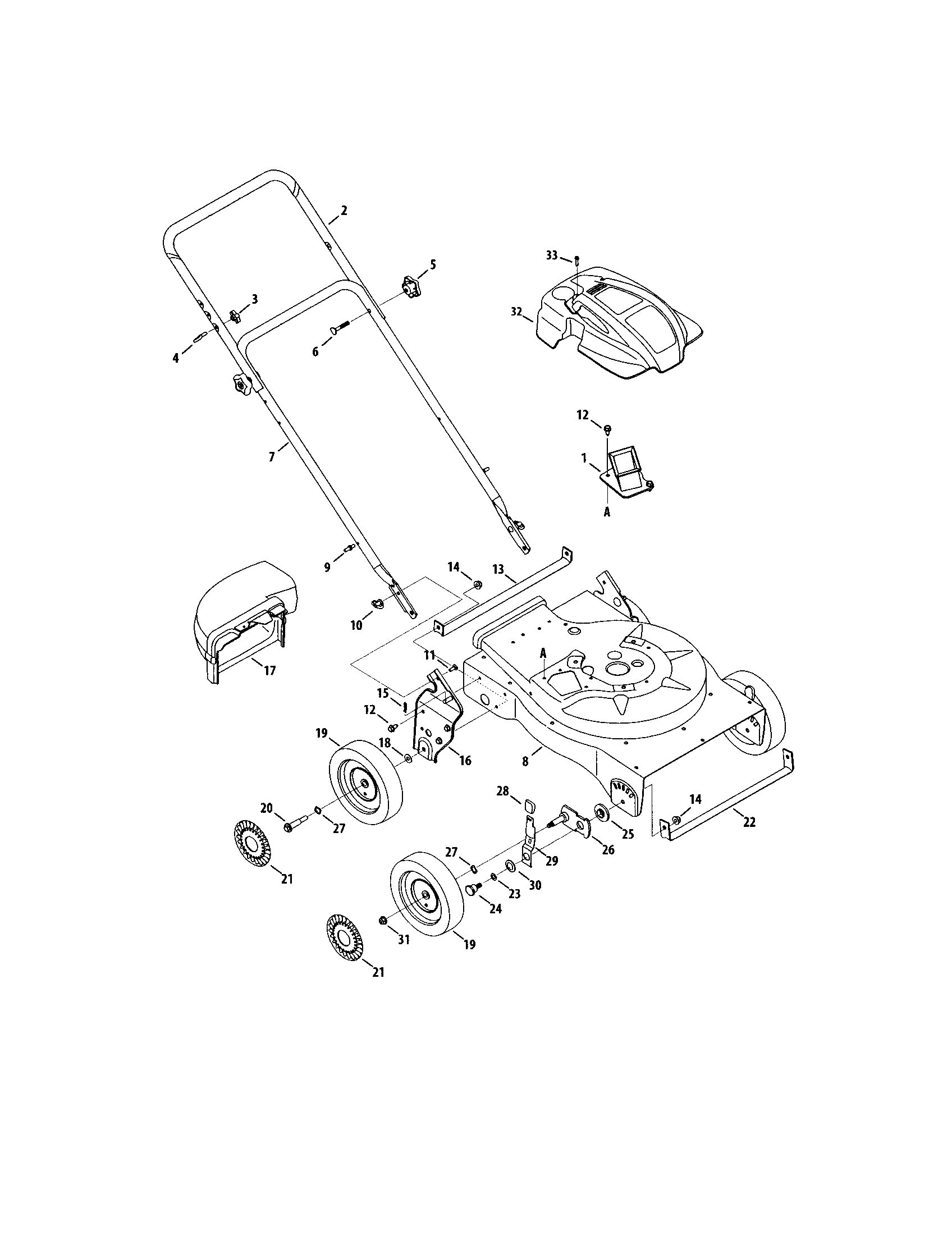 HANDLE/HOUSING/WHEELS Diagram & Parts List for Model