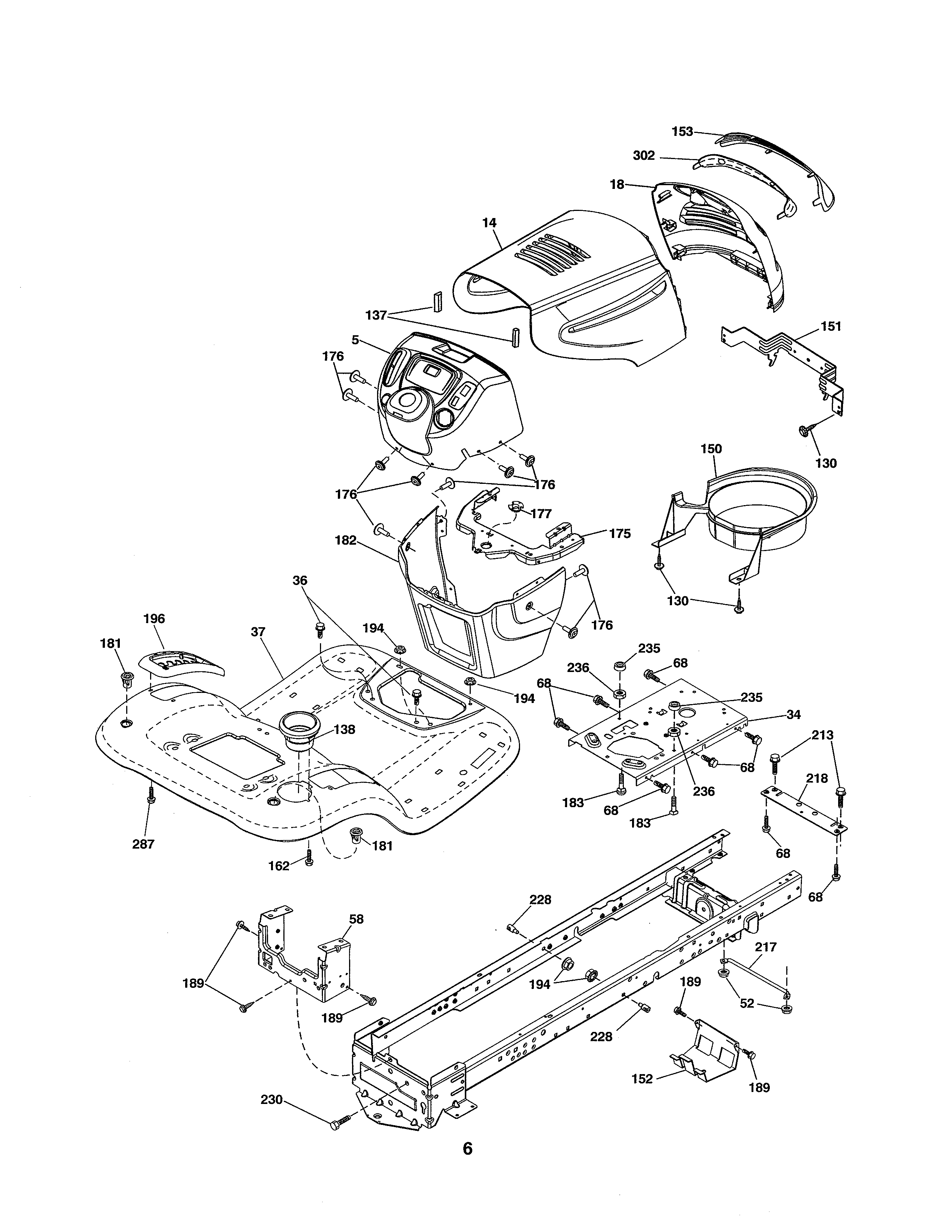 CHASSIS Diagram & Parts List for Model 93603800 Ariens-Parts Riding-Mower-Tractor-Parts