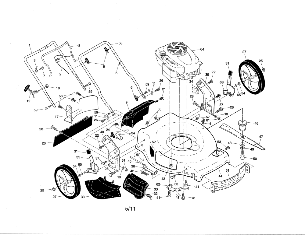 medium resolution of craftsman 917376230 engine housing handle diagram