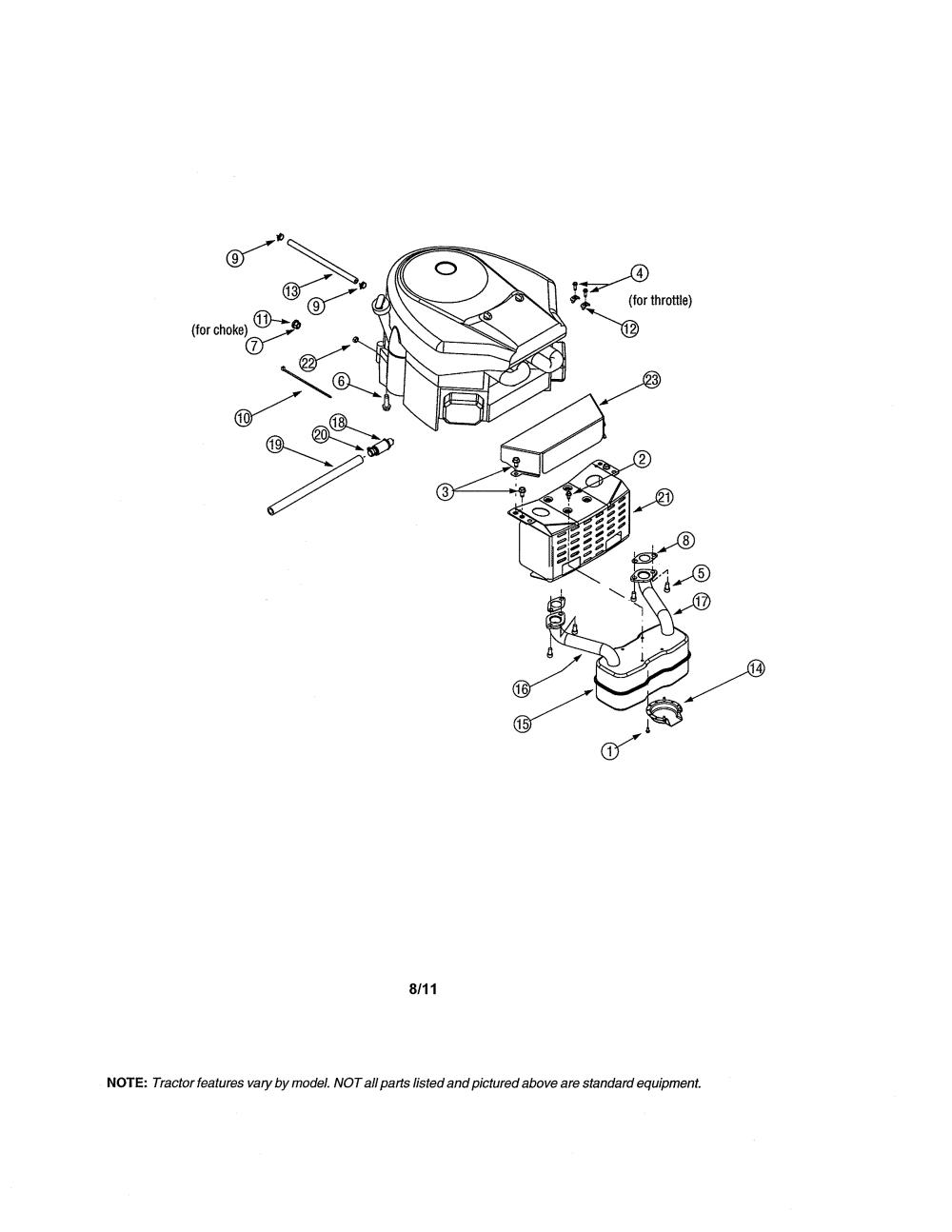 medium resolution of mtd 13ag601h729 muffler diagram