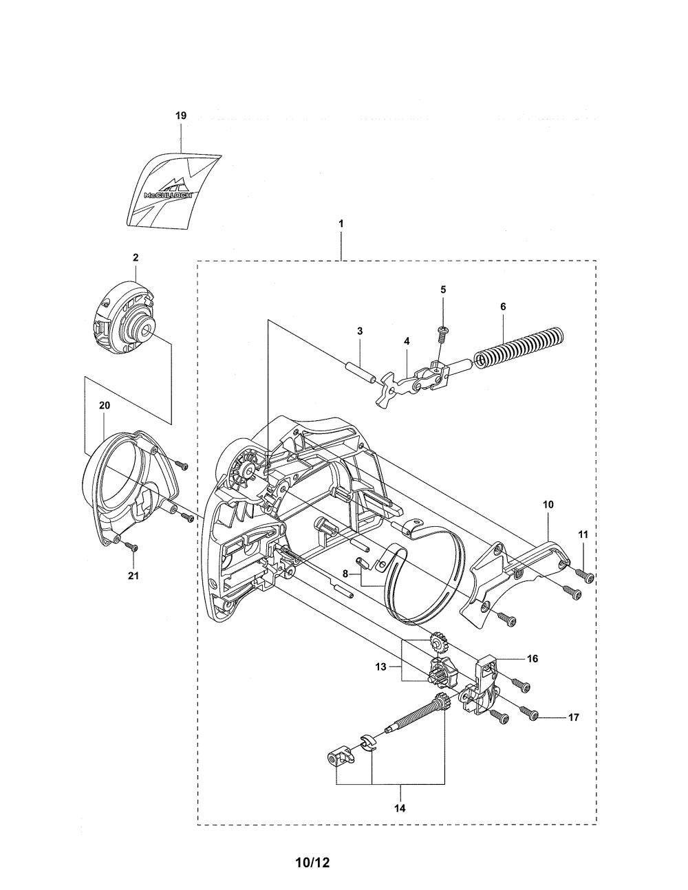 medium resolution of mcculloch cs380 chain brake clutch cover cs 380 diagram