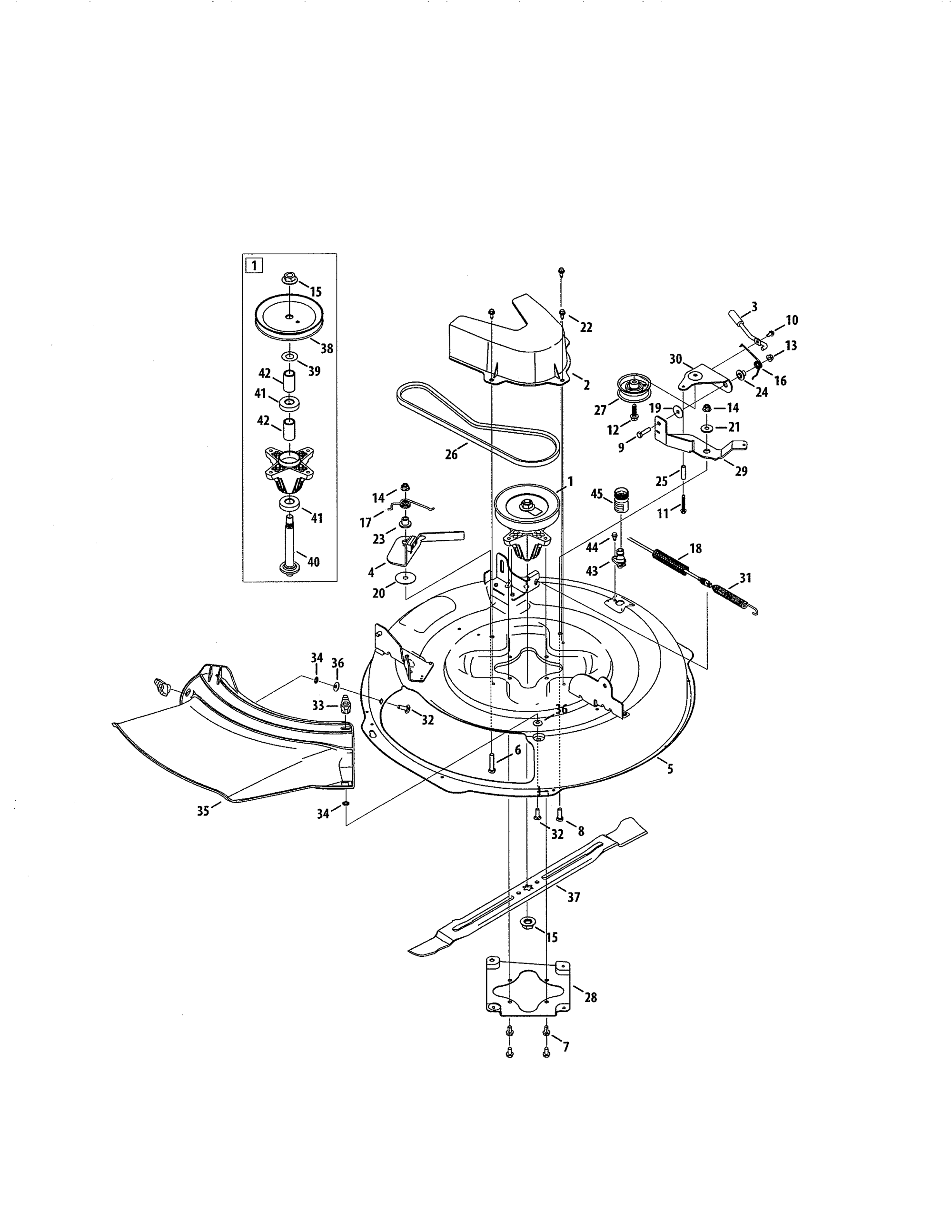 hight resolution of craftsman 247290001 deck spindle pulley diagram